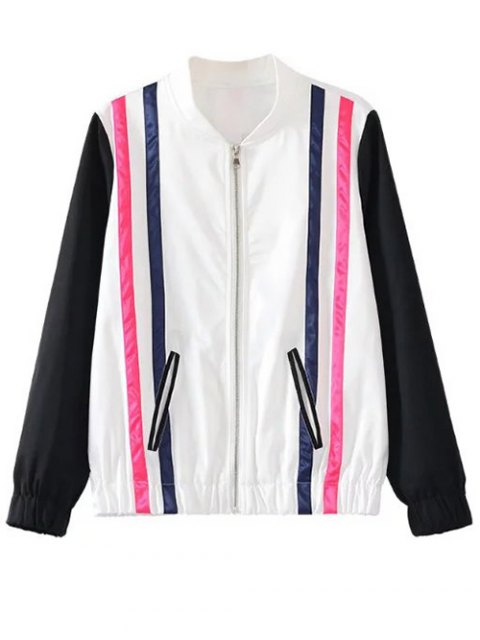 shop Striped Jacket - WHITE AND BLACK M Mobile