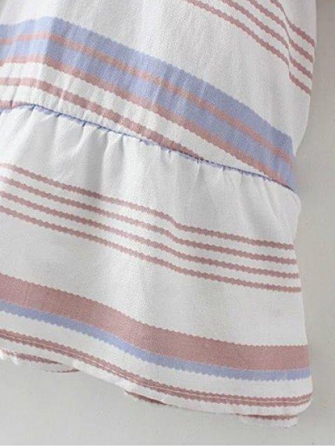 ladies Striped Low Back Tunic Top - PURPLE M Mobile