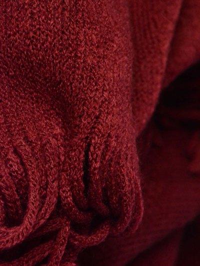 Tassel Edge Batwing Pashmina - WINE RED  Mobile
