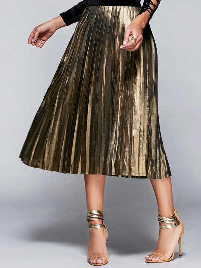 High Waisted Pleated Midi Skirt - Champagne