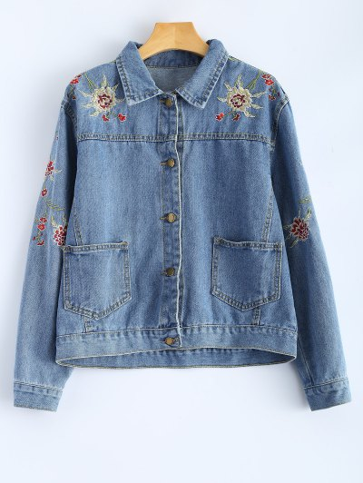 Retro Floral Embroidered Denim Jacket - Denim Blue