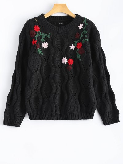 Floral Embroidered Cut Out Pullover Sweater - Black