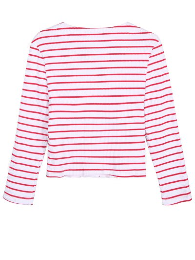 Ribbed Stripe Cropped Cardigan - RED WITH WHITE L Mobile