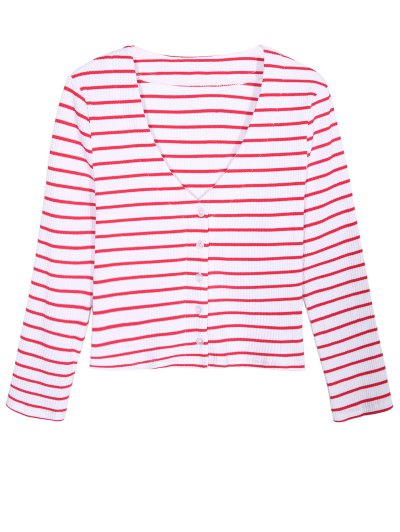 Ribbed Stripe Cropped Cardigan - RED WITH WHITE M Mobile