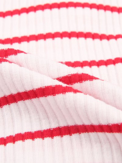 Ribbed Stripe Cropped Cardigan - RED WITH WHITE S Mobile