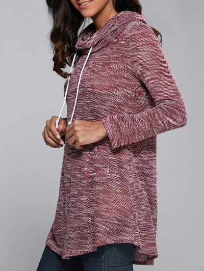 Long Cowl Neck Drawstring Blouse - BRICK-RED L Mobile