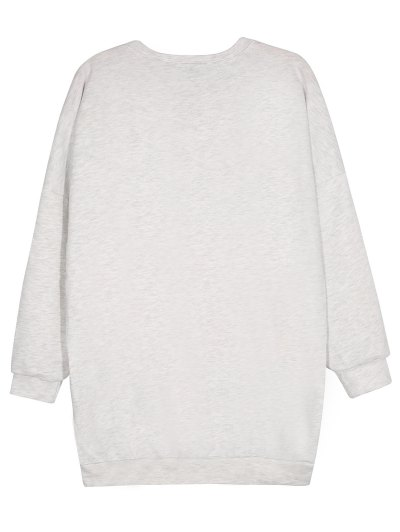 Short Sleeve Graphic Sweatshirt - GRAY M Mobile