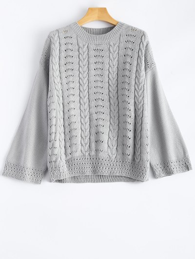 Round Neck Hollow Out Sweater - Gray