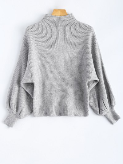 Ribbed Puff Sleeve Mock Neck Sweater - Light Gray