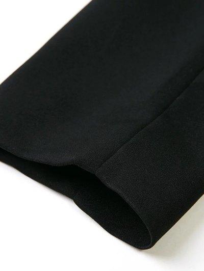 Lapel Blazer With Flap Pockets - BLACK S Mobile