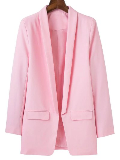 Lapel Blazer With Flap Pockets - PINK L Mobile
