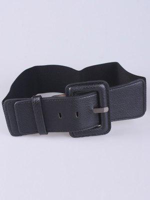 PU Pin Buckle Stretch Belt - Black