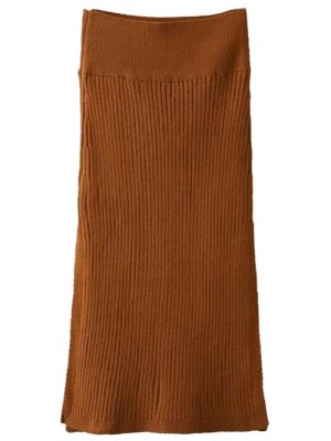 Side Slit Midi Sweater Skirt - Brown