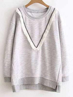 Color Block Fringed Sweatshirt - Gray