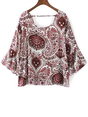 Paisley Print Frilly Top - Red
