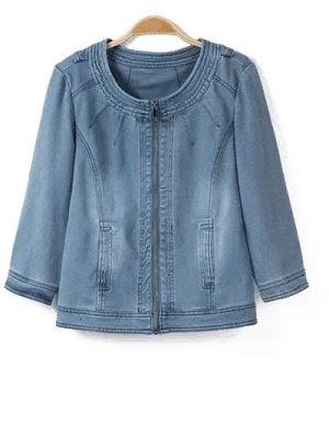 Round Neck Denim Jacket - Light Blue