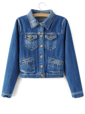 Bleach Wash Denim Jacket - Blue