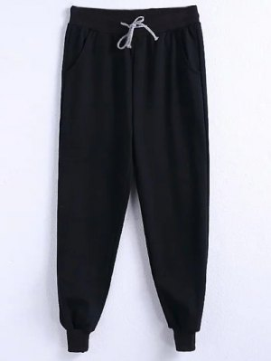 Drawstring Jogger Running Pants - Black