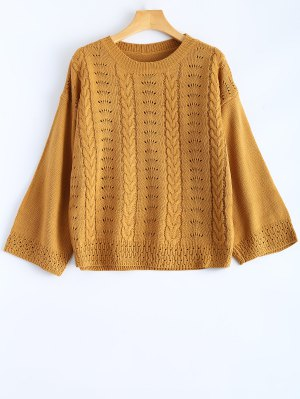 Round Neck Hollow Out Sweater - Earthy