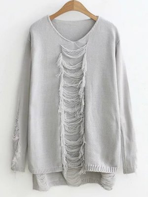 Ripped High-Low Sweater - Gray