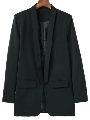 Lapel Blazer With Flap Pockets - Black