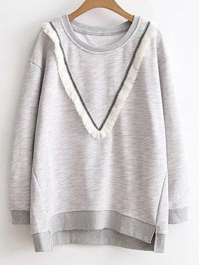 Fringe Color Block Sweatshirt