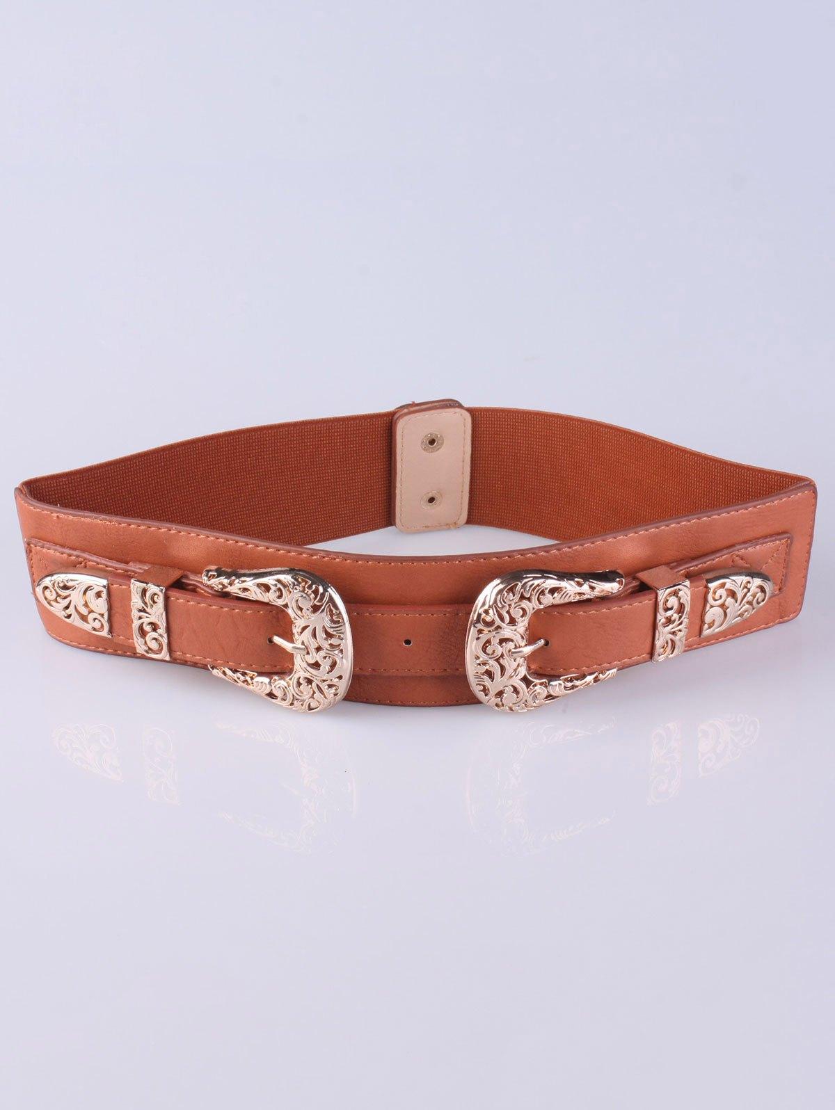 Pin Buckles Wide Stretch Belt