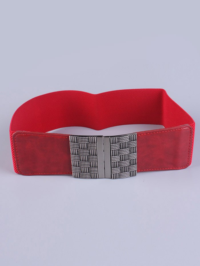 Weaving Metal Basket Buckle Stretch BeltAccessories<br><br><br>Color: RED