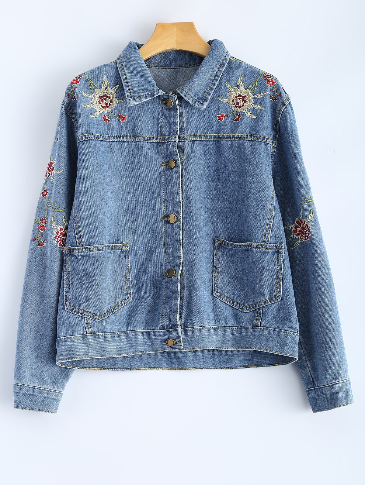 Shirt Neck Retro Floral Embroidered Denim Jacket