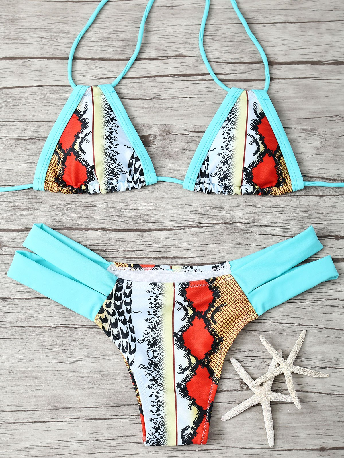 Halter Retro Print Bikini Set