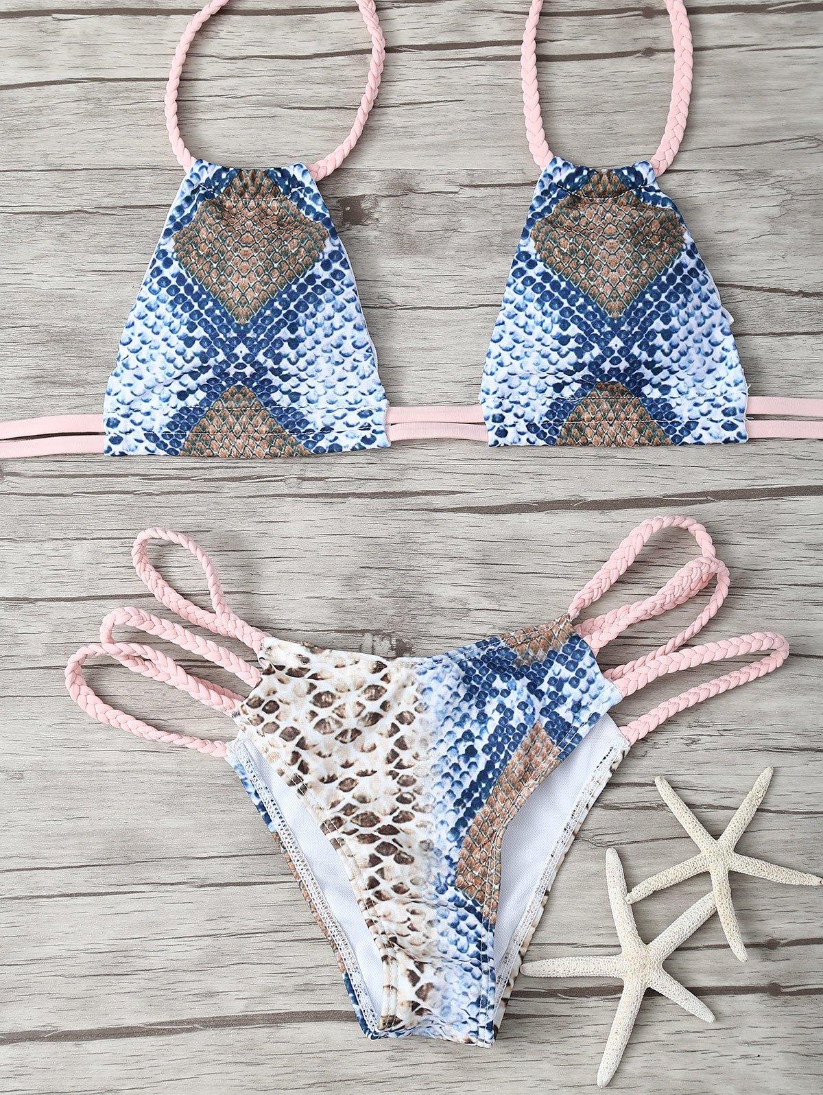 Snakeskin Print Braided Straps Bikini