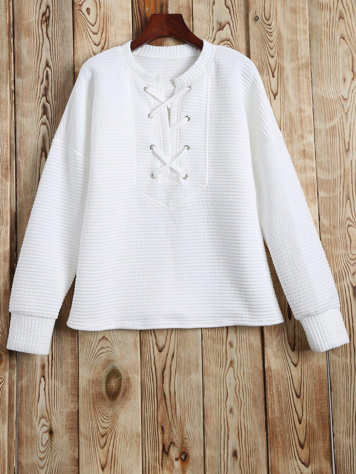 Round Neck Lace Up Sweatshirt
