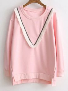Color Block Fringed Sweatshirt