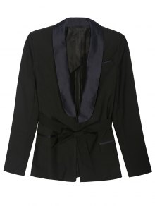 Pajama Style Belted Blazer - Black