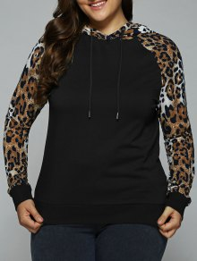 Plus Size Leopard Trim Raglan Sleeves Hoodie