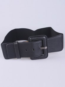 PU Pin Buckle Stretch Belt - Black