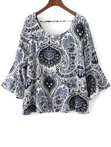 Paisley Print Frilly Top