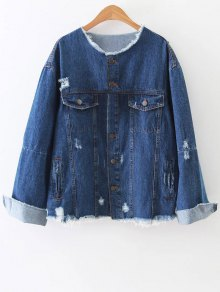 Raw Cut Patched Back Denim Jacket
