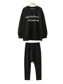Más El Tamaño De La Camiseta De Rayas Y Pantalones - Negro