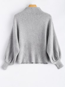 Ribbed Puff Sleeve Mock Neck Sweater - LIGHT GRAY ONE SIZE