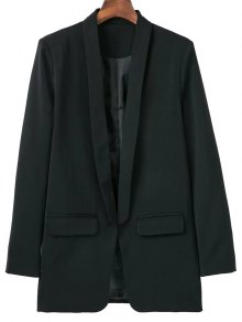 Lapel Blazer With Flap Pockets - Black
