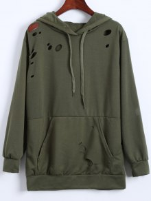 Ripped Hoodie - Army Green Xl
