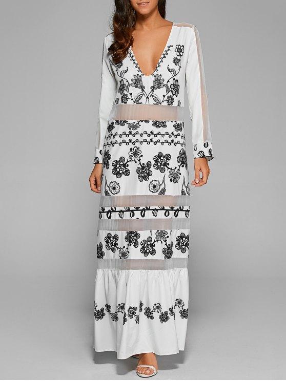 Vestido largo con mangas de malla - Blanco M