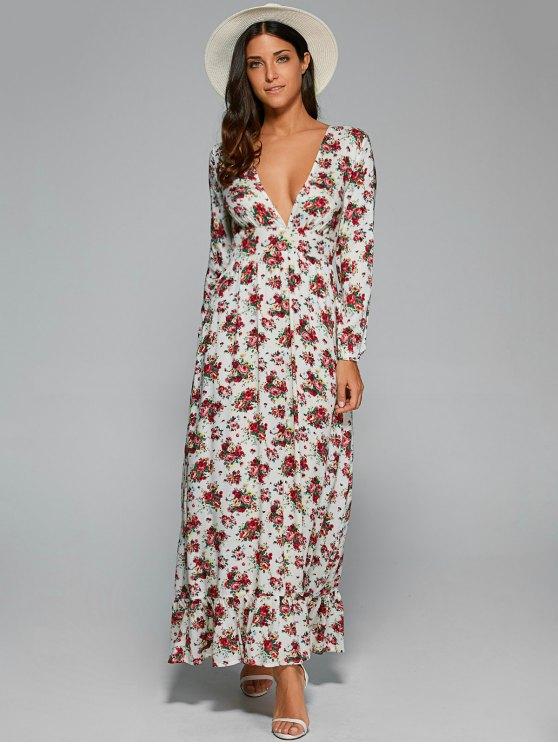 Plongeant Neck Dress Floral Maxi - Blanc S