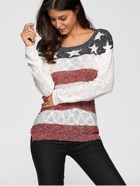 Raya de la estrella del suéter de punto jacquard - Blancuzco XL