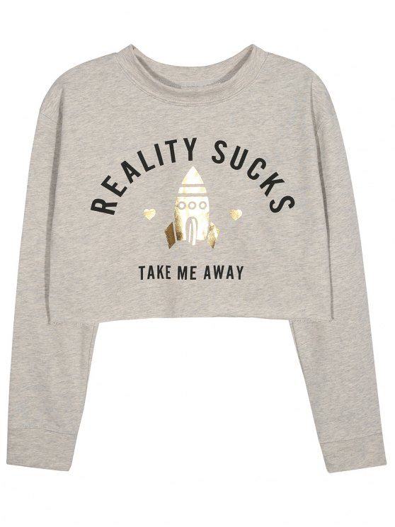 outfit Take Me Away Cropped Graphic Sweatshirt - GRAY XL