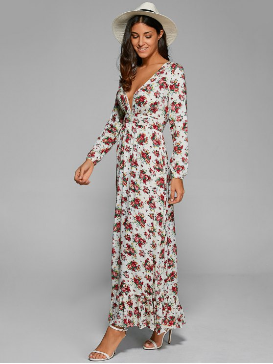 Empire Waist Maxi Floral Plunging Neckline Dress - WHITE S Mobile