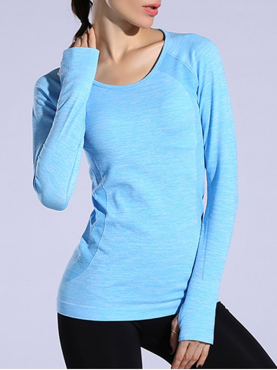 Gloved Long Sleeve Quick Dry T-Shirt - AZURE M Mobile
