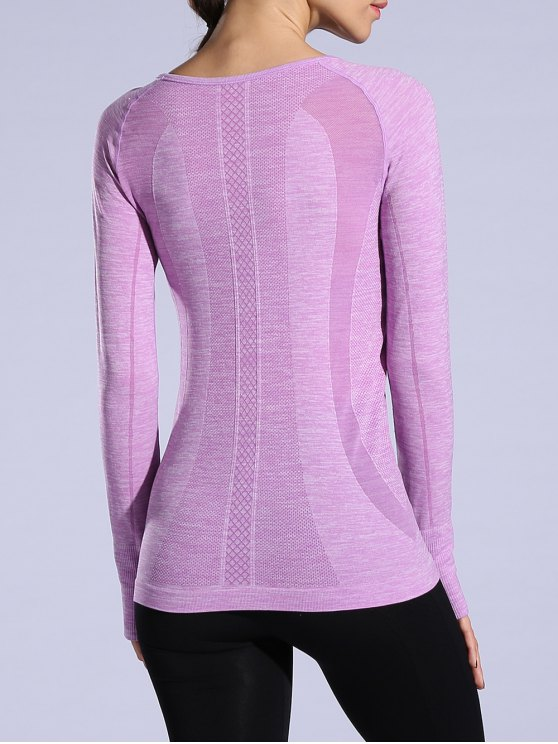 Gloved Long Sleeve Quick Dry T-Shirt - LIGHT PURPLE M Mobile