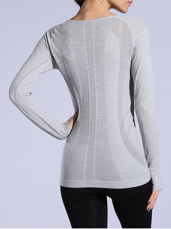 Gloved Long Sleeve Quick Dry T-Shirt - LIGHT GRAY M Mobile